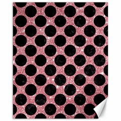 Circles2 Black Marble & Pink Glitter Canvas 16  X 20   by trendistuff