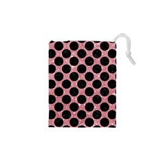 Circles2 Black Marble & Pink Glitter Drawstring Pouches (xs)  by trendistuff