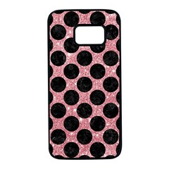 Circles2 Black Marble & Pink Glitter Samsung Galaxy S7 Black Seamless Case by trendistuff