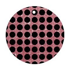 Circles1 Black Marble & Pink Glitter Round Ornament (two Sides) by trendistuff
