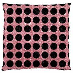 Circles1 Black Marble & Pink Glitter Standard Flano Cushion Case (one Side) by trendistuff
