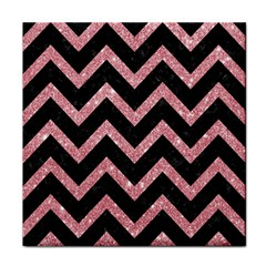 Chevron9 Black Marble & Pink Glitter (r) Tile Coasters