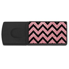 Chevron9 Black Marble & Pink Glitter Rectangular Usb Flash Drive by trendistuff