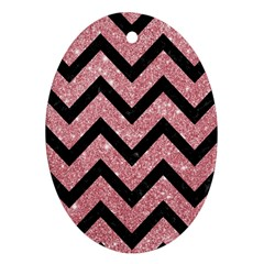 Chevron9 Black Marble & Pink Glitter Oval Ornament (two Sides) by trendistuff