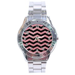 Chevron3 Black Marble & Pink Glitterchevron3 Black Marble & Pink Glitter Stainless Steel Analogue Watch by trendistuff