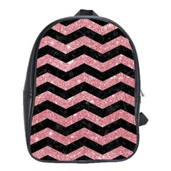 Chevron3 Black Marble & Pink Glitterchevron3 Black Marble & Pink Glitter School Bag (xl) by trendistuff