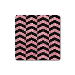 Chevron2 Black Marble & Pink Glitter Square Magnet by trendistuff