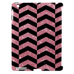 Chevron2 Black Marble & Pink Glitter Apple Ipad 3/4 Hardshell Case (compatible With Smart Cover) by trendistuff