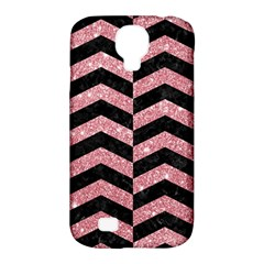 Chevron2 Black Marble & Pink Glitter Samsung Galaxy S4 Classic Hardshell Case (pc+silicone) by trendistuff