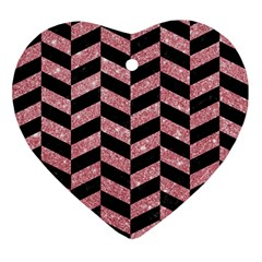 Chevron1 Black Marble & Pink Glitter Ornament (heart) by trendistuff