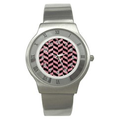 Chevron1 Black Marble & Pink Glitter Stainless Steel Watch by trendistuff