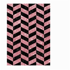 Chevron1 Black Marble & Pink Glitter Large Garden Flag (two Sides) by trendistuff