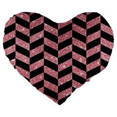 Chevron1 Black Marble & Pink Glitter Large 19  Premium Heart Shape Cushions by trendistuff