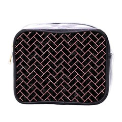 Brick2 Black Marble & Pink Glitter (r) Mini Toiletries Bags by trendistuff