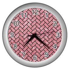 Brick2 Black Marble & Pink Glitter Wall Clocks (silver)  by trendistuff