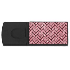 Brick2 Black Marble & Pink Glitter Rectangular Usb Flash Drive by trendistuff