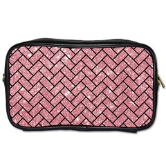 Brick2 Black Marble & Pink Glitter Toiletries Bags by trendistuff