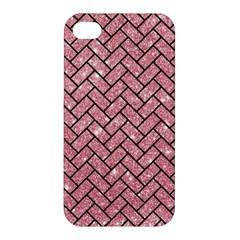Brick2 Black Marble & Pink Glitter Apple Iphone 4/4s Hardshell Case by trendistuff