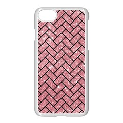 Brick2 Black Marble & Pink Glitter Apple Iphone 7 Seamless Case (white) by trendistuff