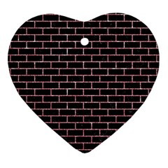 Brick1 Black Marble & Pink Glitter (r) Heart Ornament (two Sides)