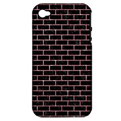 Brick1 Black Marble & Pink Glitter (r) Apple Iphone 4/4s Hardshell Case (pc+silicone) by trendistuff