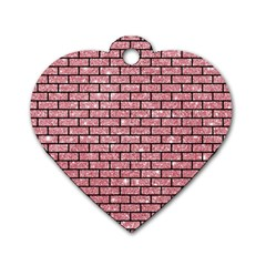Brick1 Black Marble & Pink Glitter Dog Tag Heart (one Side) by trendistuff