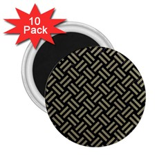 Woven2 Black Marble & Khaki Fabric (r) 2 25  Magnets (10 Pack)  by trendistuff