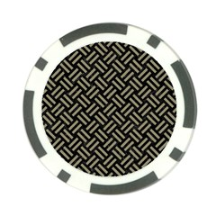 Woven2 Black Marble & Khaki Fabric (r) Poker Chip Card Guard by trendistuff