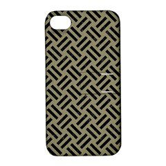 Woven2 Black Marble & Khaki Fabric Apple Iphone 4/4s Hardshell Case With Stand by trendistuff