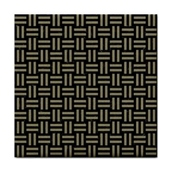 Woven1 Black Marble & Khaki Fabric (r) Tile Coasters by trendistuff