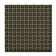 Woven1 Black Marble & Khaki Fabric Tile Coasters by trendistuff