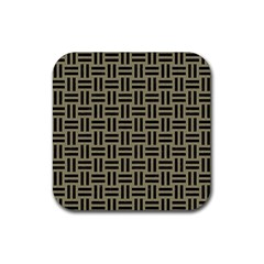 Woven1 Black Marble & Khaki Fabric Rubber Square Coaster (4 Pack)  by trendistuff