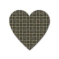 Woven1 Black Marble & Khaki Fabric Heart Magnet by trendistuff