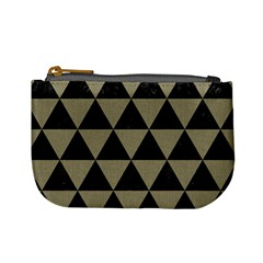 Triangle3 Black Marble & Khaki Fabric Mini Coin Purses by trendistuff