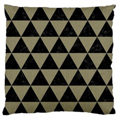 Triangle3 Black Marble & Khaki Fabric Large Flano Cushion Case (one Side) by trendistuff