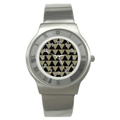 Triangle2 Black Marble & Khaki Fabric Stainless Steel Watch by trendistuff