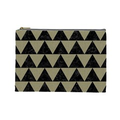 Triangle2 Black Marble & Khaki Fabric Cosmetic Bag (large)  by trendistuff