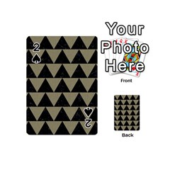 Triangle2 Black Marble & Khaki Fabric Playing Cards 54 (mini)  by trendistuff