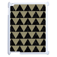 Triangle2 Black Marble & Khaki Fabric Apple Ipad 2 Case (white) by trendistuff