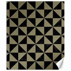 Triangle1 Black Marble & Khaki Fabric Canvas 20  X 24   by trendistuff