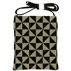 Triangle1 Black Marble & Khaki Fabric Shoulder Sling Bags by trendistuff