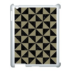 Triangle1 Black Marble & Khaki Fabric Apple Ipad 3/4 Case (white) by trendistuff