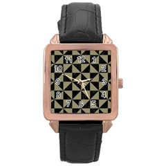 Triangle1 Black Marble & Khaki Fabric Rose Gold Leather Watch  by trendistuff
