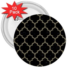 Tile1 Black Marble & Khaki Fabric (r) 3  Buttons (10 Pack)  by trendistuff