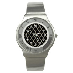 Tile1 Black Marble & Khaki Fabric (r) Stainless Steel Watch by trendistuff
