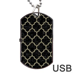 Tile1 Black Marble & Khaki Fabric (r) Dog Tag Usb Flash (two Sides) by trendistuff