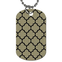 Tile1 Black Marble & Khaki Fabric Dog Tag (one Side) by trendistuff