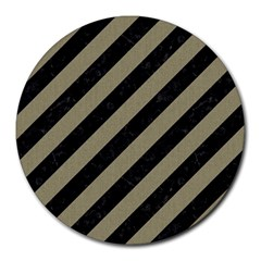 Stripes3 Black Marble & Khaki Fabric (r) Round Mousepads by trendistuff