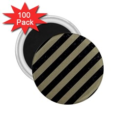 Stripes3 Black Marble & Khaki Fabric (r) 2 25  Magnets (100 Pack)  by trendistuff
