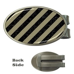Stripes3 Black Marble & Khaki Fabric (r) Money Clips (oval)  by trendistuff